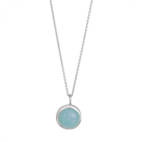 Rhd. Sil. Halskette SWEETS52 blauer Chalzedon 11mm