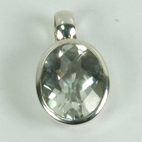 Silberanhänger Bergkristall oval 8*10mm